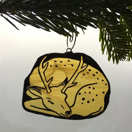 Stained glass sleeping deer Christmas tree decoration
