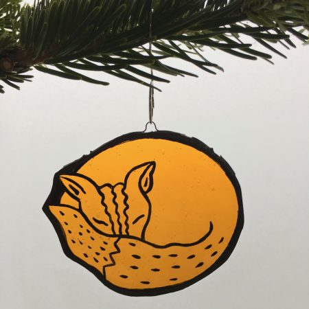 Stained glass sleeping fox Christmas tree decoration