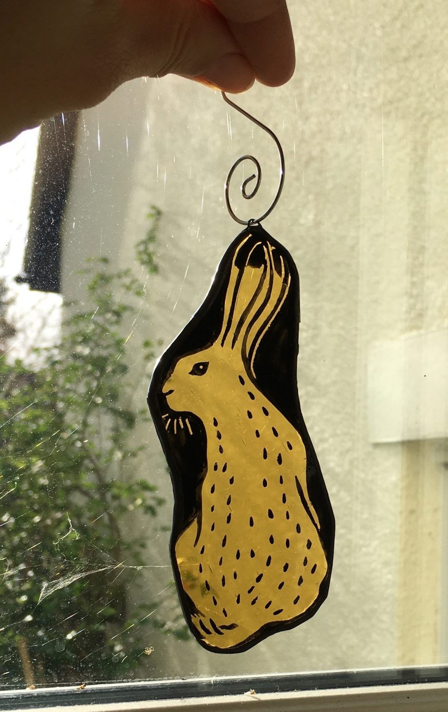 Stained glass hare Christmas tree decoration