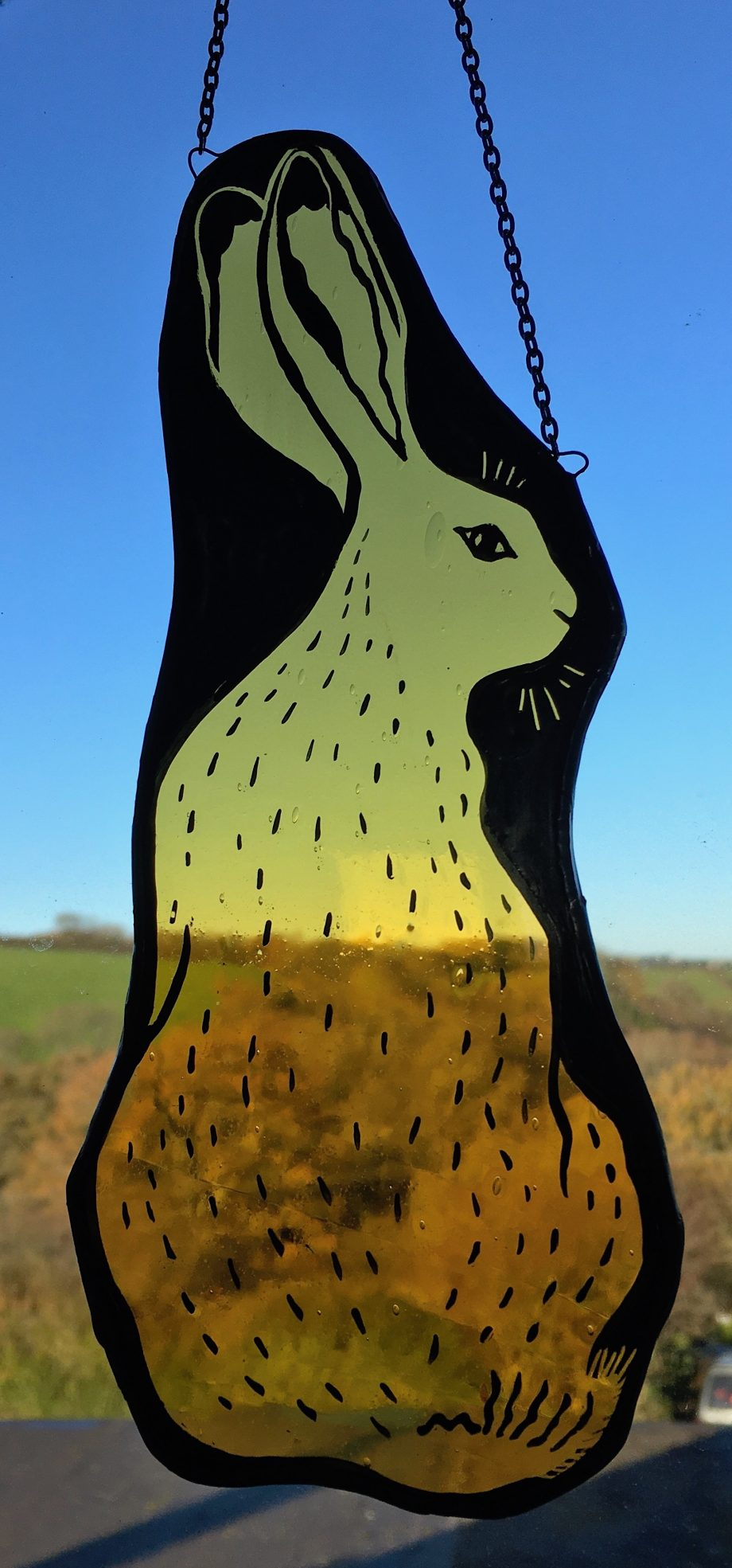 Stained glass hare sun catcher