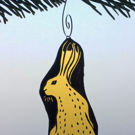 Hare stained glass Christmas tree decoration