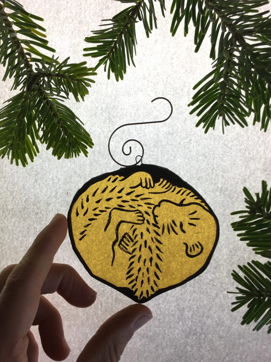 Stained glass harvest mouse Christmas tree decoration
