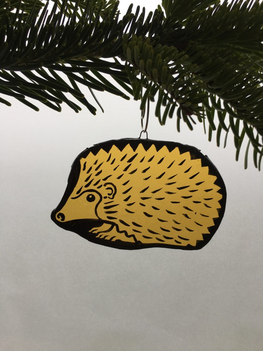 Stained glass hedgehog Christmas tree decoration
