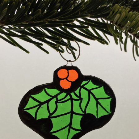 Holly stained glass Christmas tree decoration
