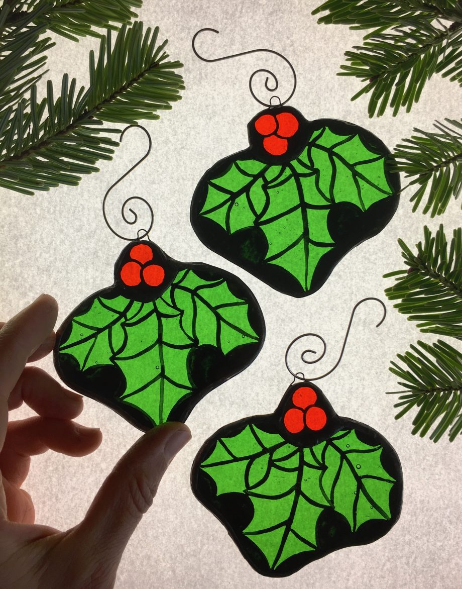 Set of 3 stained glass Christmas holly tree decorations