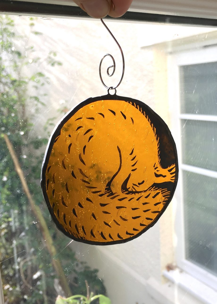 Stained glass red squirrel Christmas tree decoration