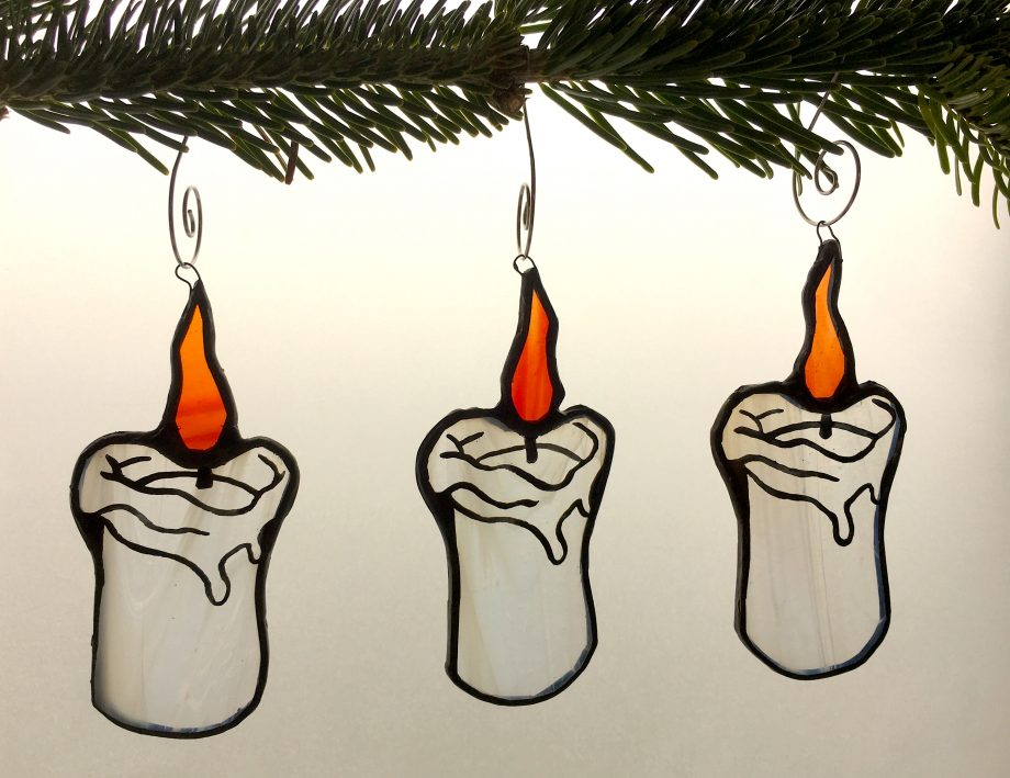Set of three stained glass Christmas candle tree decorations