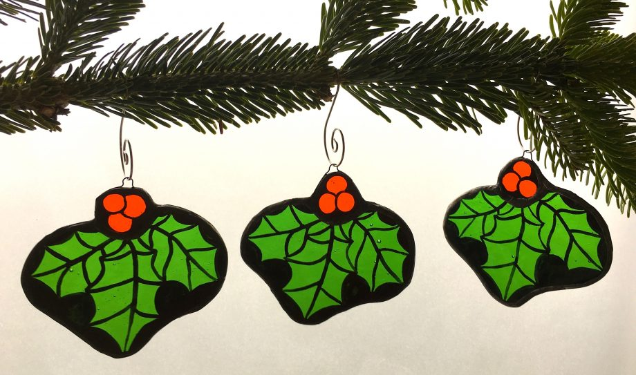 Set of three holly stained glass Christmas tree decorations