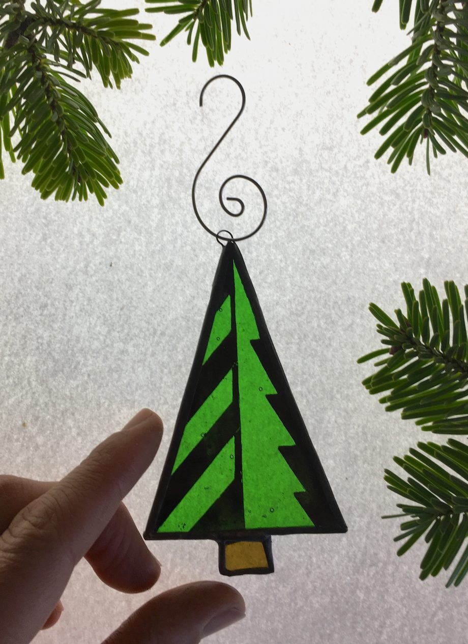 Stained glass geometric Christmas tree decoration