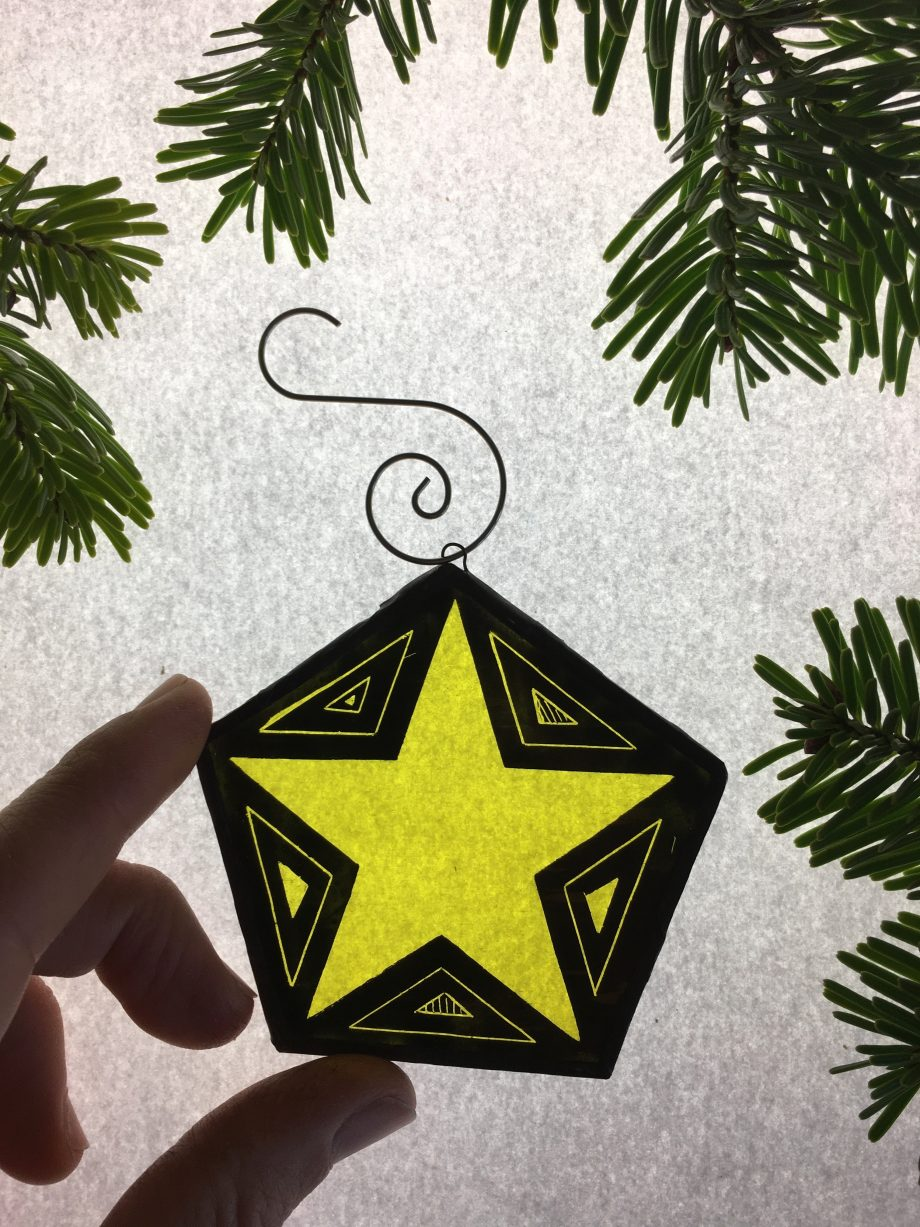 Yellow star stained glass Christmas tree decoration