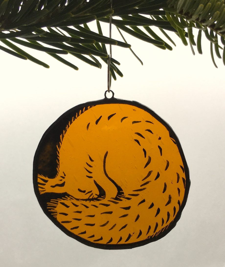 Red squirrel stained glass Christmas tree decoration