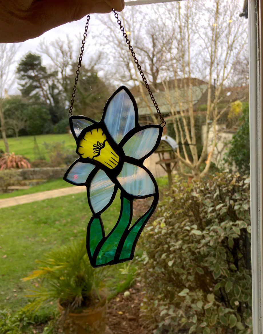 Stained glass daffodil sun catcher
