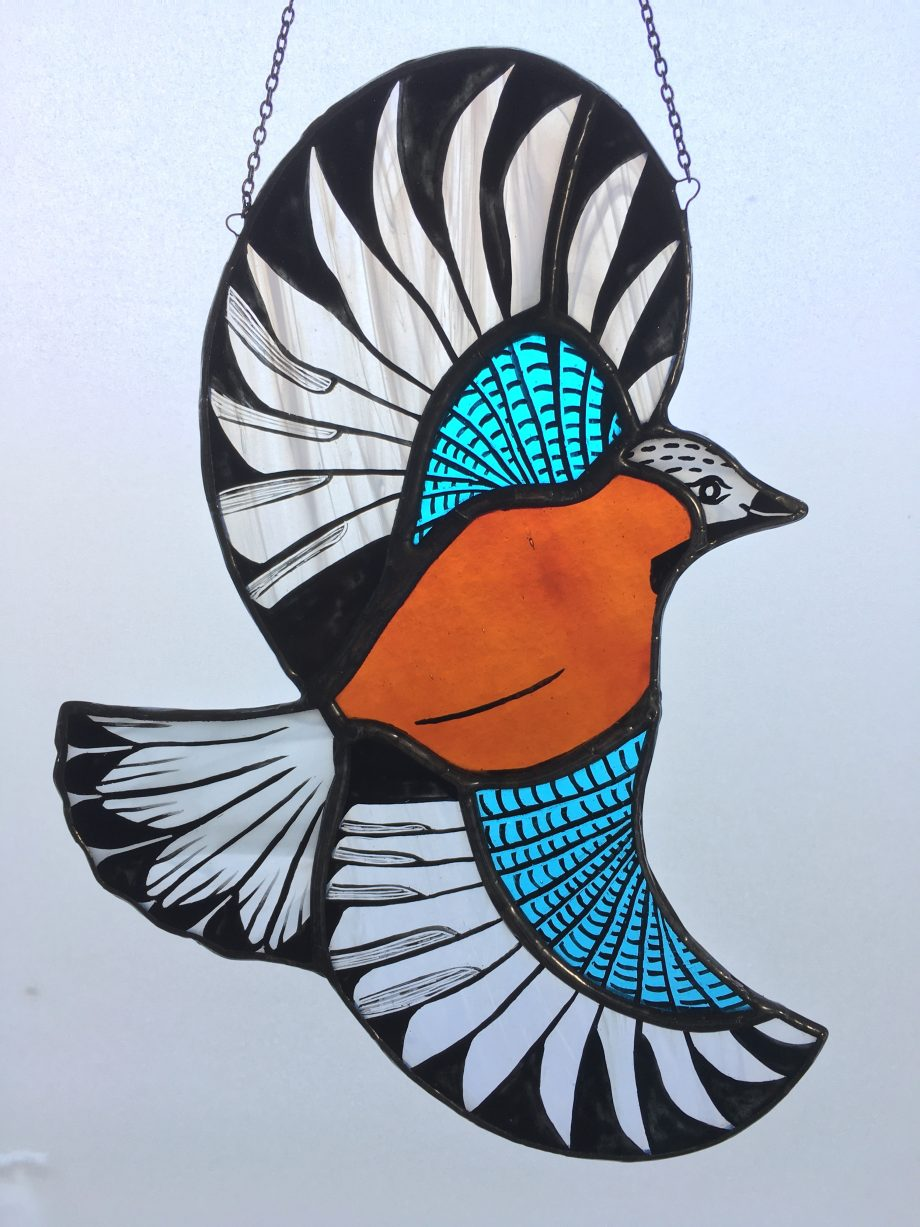 Stained glass jay bird