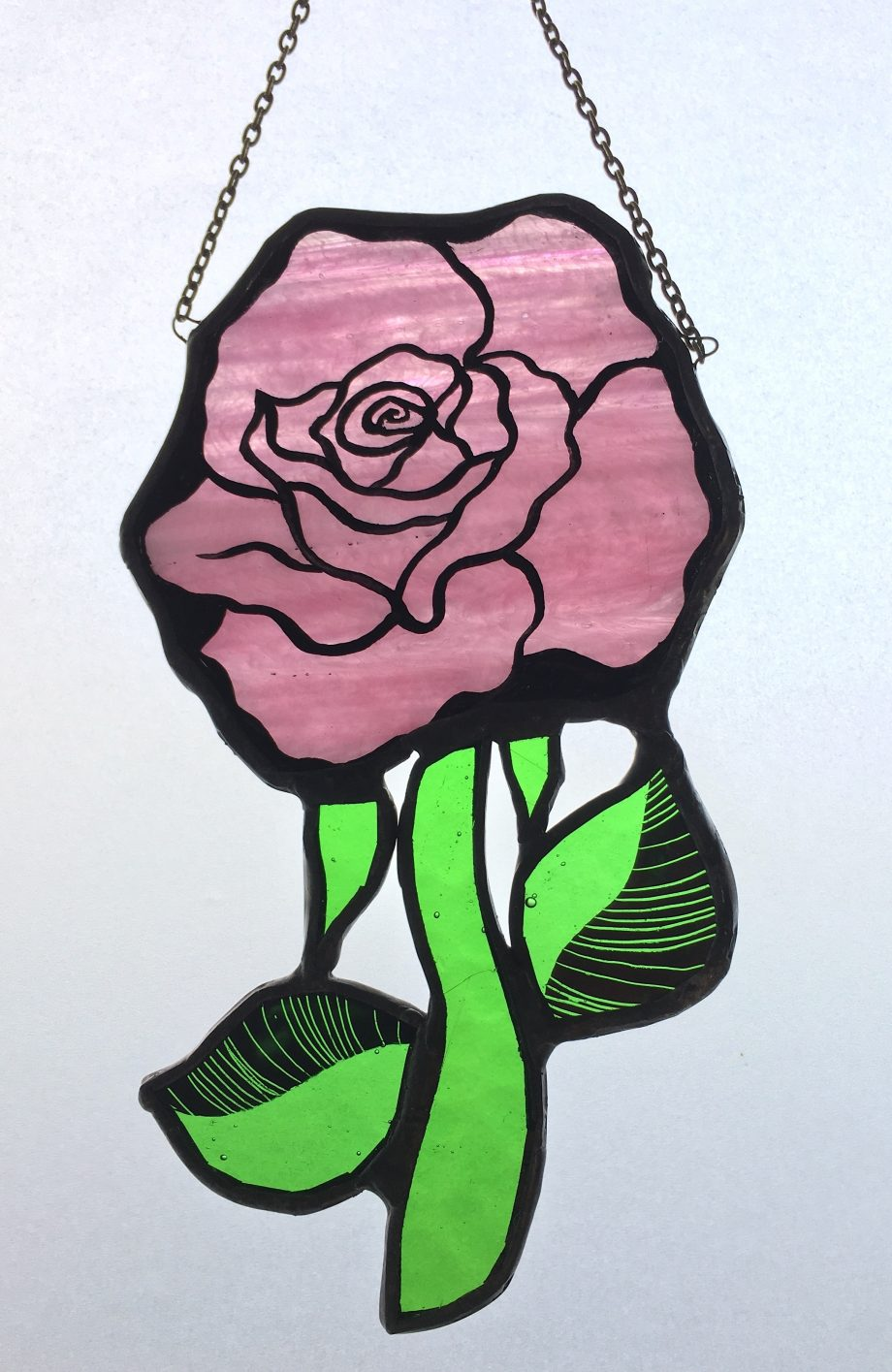 Pink rose stained glass sun catcher