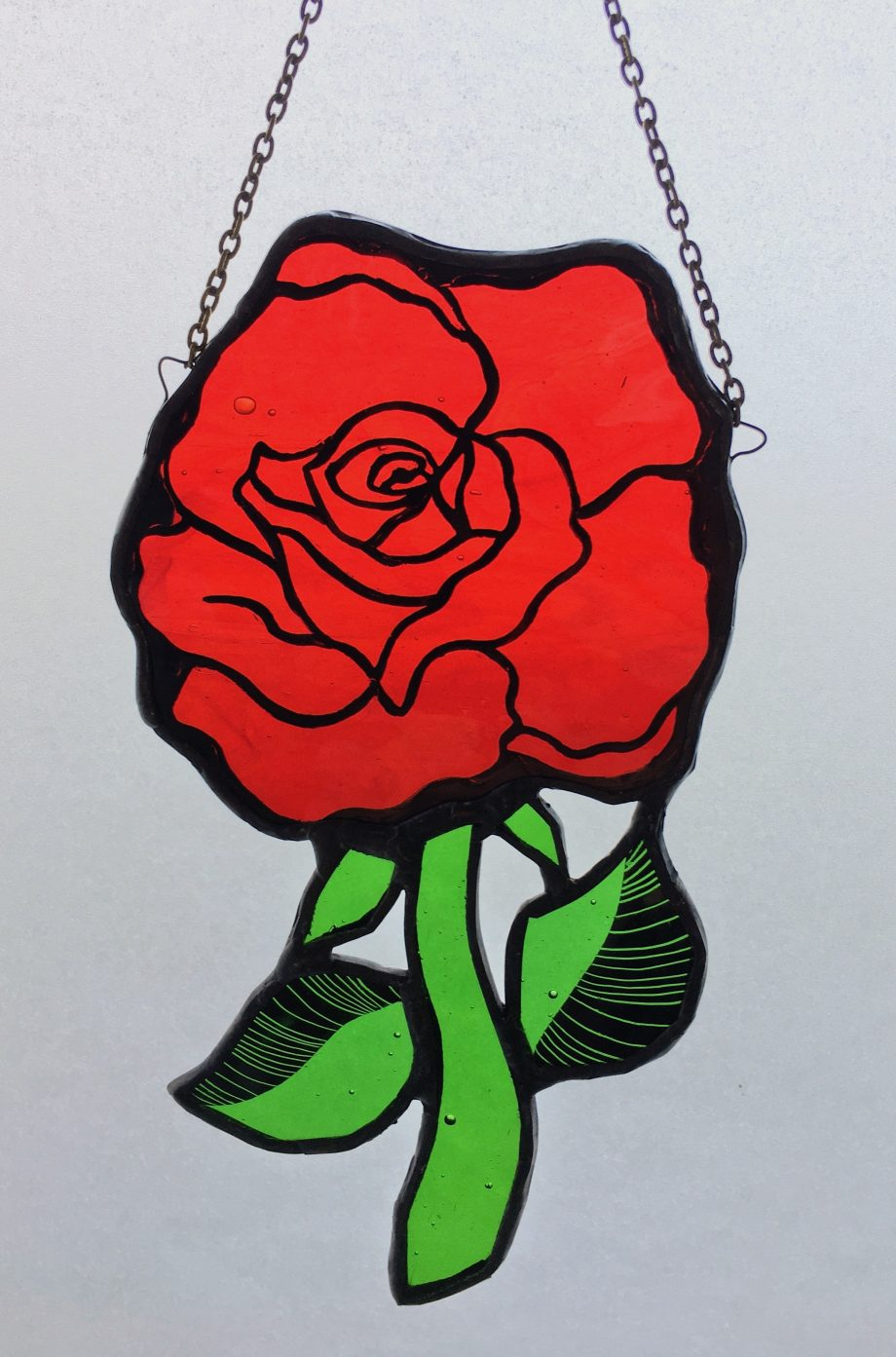 Stained glass red rose sun catcher