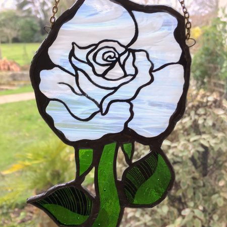 Stained glass white rose sun catcher