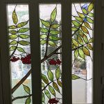 Rowan tree stained glass panels for front door