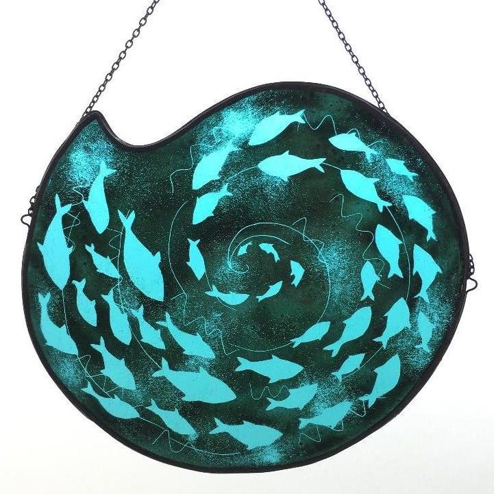 Turquoise stained glass fish spiral sun catcher
